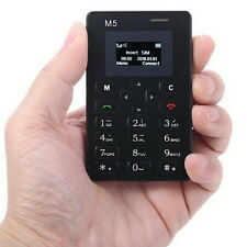 Boys Simple Alarm Clock 128M Storage  Mini Pocket Card Black AIEK M5 Cell Phone