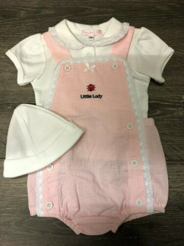 Baby babies girl girls SUMMER OUTFIT 3 PIECE WHITE PINK LADYBIRD
