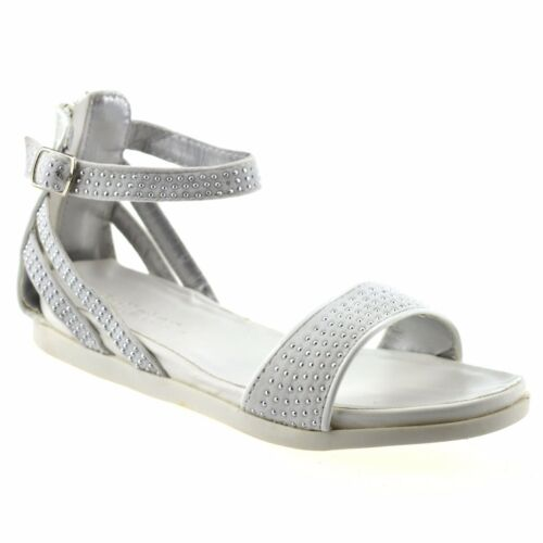 Girls Kids Flat Heel Ankle Strap Zip Up Summer Party Gladiator Sandals Shoe Size