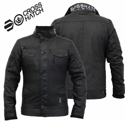 Chaud Zip New Crosshatch Full Double Rembourrᄄᆭ Couche Mens Manteau Hiver Noir Veste 34LR5Aj