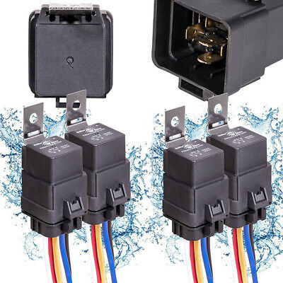 4x Waterproof Car Auto Marine 12V DC 40A 5 pin Relay Connector Socket Holder WEH