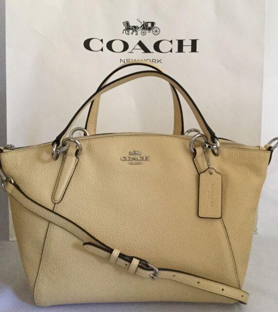 83619fc4f1db COACH Small Kelsey F31075 Pebbled Leather Shoulder Crossbody Bag SV Vanilla  NWT