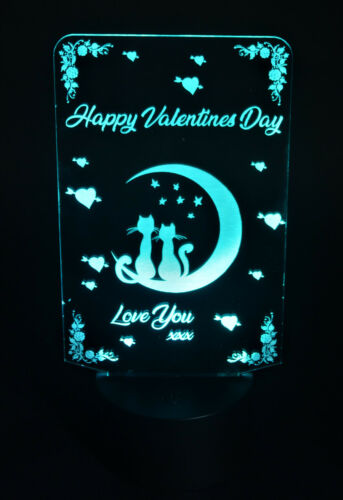 Personalised LED Valentines Cards Love Family Unique Light UP Dog Cat Heart