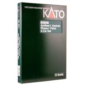 Kato-106-8011-N-Scale-Amfleet-I-Phase-I-4-Car-Bookcase-Set-Rolling-Stock