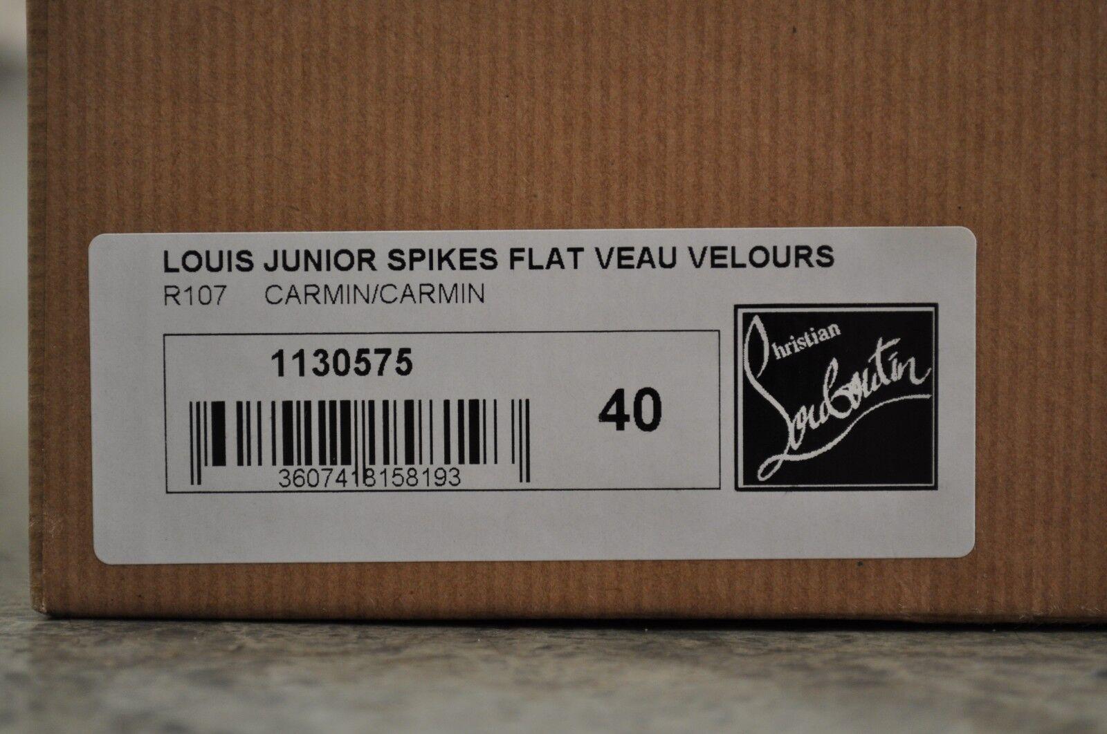 Christian Louboutin Junior punte piatte Louis VEAU VELOUR-Carmin 40 EUR EUR EUR 8d2547