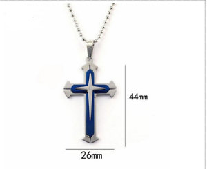 Unisex Edelstahl Kreuz Anhaenger Halskette Kette Kugelkette