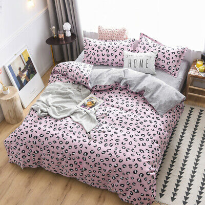 Leopard-print Gray Bedding Set Duvet Quilt Cover+Sheet+Pillow Case Four-Piece