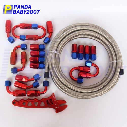 6 AN-6 STEEL BRAIDED FUEL HOSE END OIL LINE FITTING 32.8FT AN WRENCH SR AN6 6AN