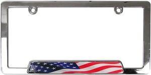 Usa American Flag Chrome Metal License Plate Frame Car