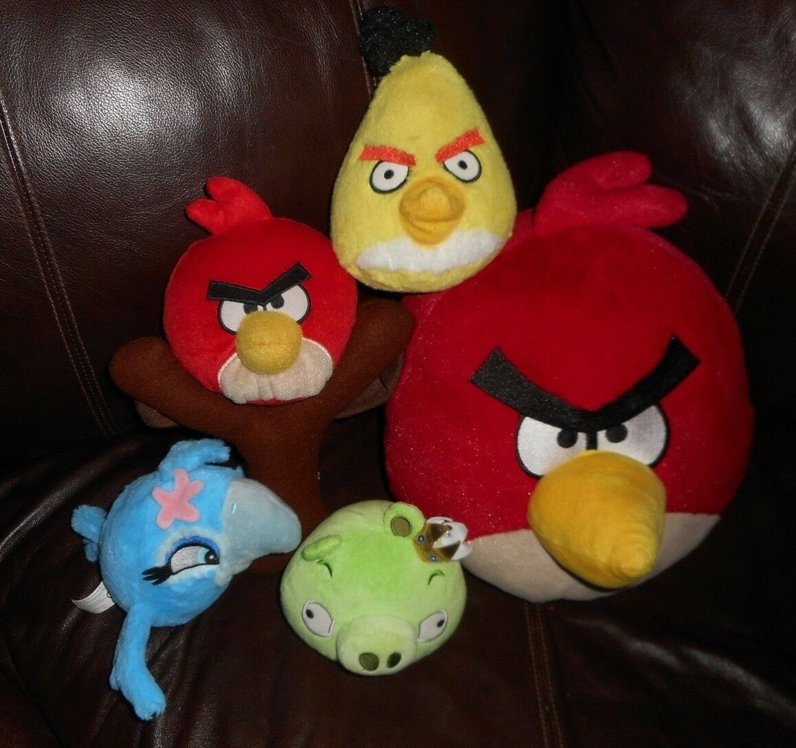 LOT OF 5 ANGRY BIRDS RED PILLOW blueE RIO GREEN YELLOW STUFFED ANIMAL PLUSH TOY