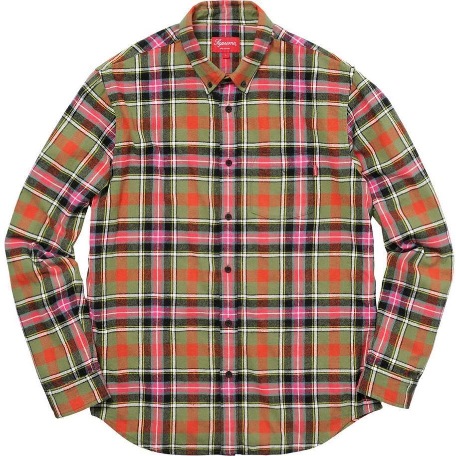 Supreme Logo Flannel Shirt, Olive, Medium