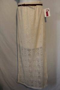 Womens-Skirt-Plus-Size-3X-Long-White-Lace-Ladies-Full-Length-A-Line-Belt-Dressy