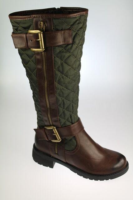 Mujeres SEÑORAS SEÑORAS SEÑORAS forrado de piel Acolchado marrón verde Rodilla botas Tamaños 3 4 5 6 7 8  venderse como panqueques