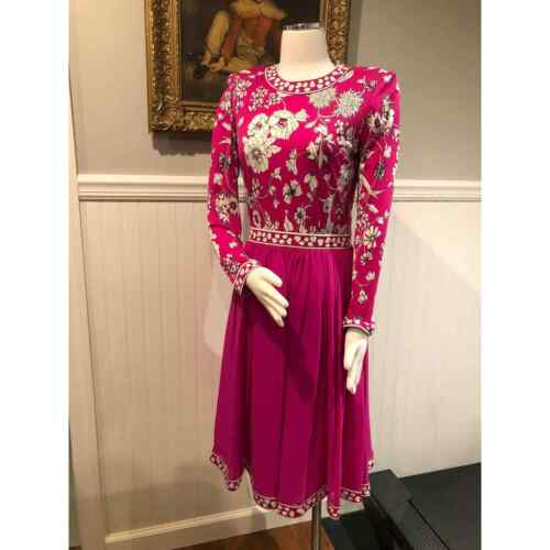 Averardo Bessi 100% Silk Dress Pink Floral Size 8