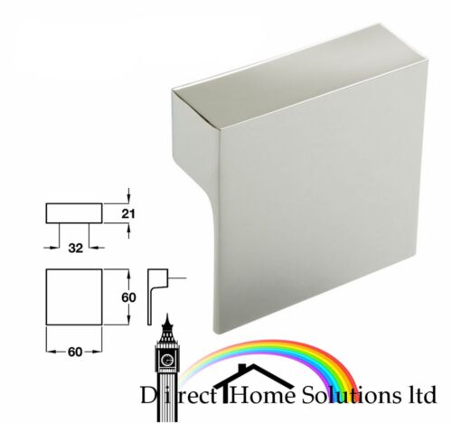 60 x Designer 60mm Square L Shape Pull Knob Kitchen Cupboard Door Handle