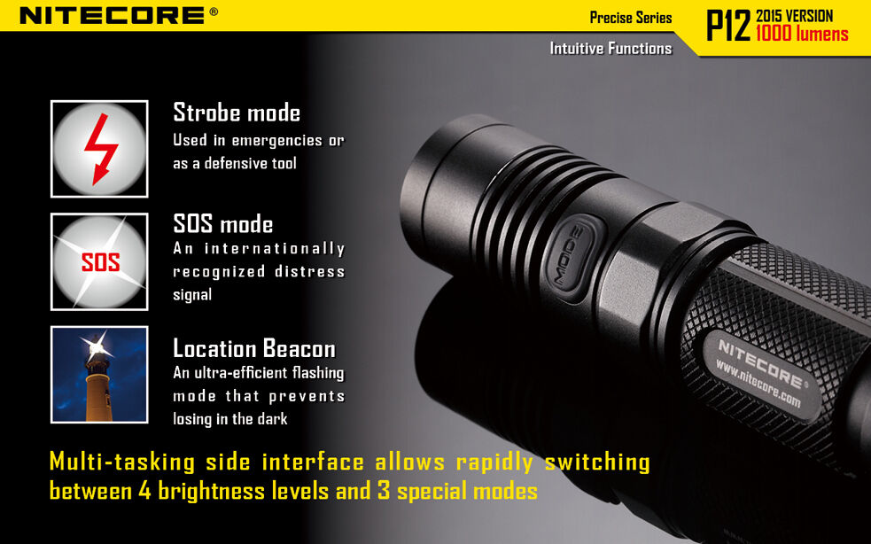 Nitecore P12 XM-L2 U2 Flashlight w/ SC2 Charger Charger Charger & NL183 Rechargeable Battery 0f17b4