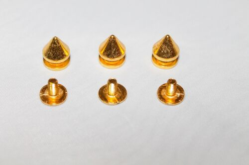 BRASS 7mm x 9.5mm 100 x Punk Spike Cone Screw Back Studs//Rivets UK SELLER