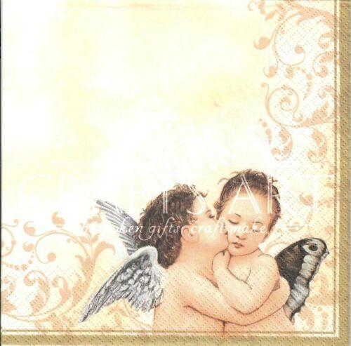 gold  -X119 Angelo angels angel 4 Single paper decoupage napkins Christmas