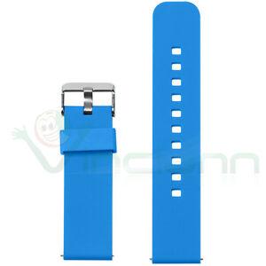 Cinturino-silicone-22mm-Blu-bracciale-fascia-polso-fibbia-per-Pebble-Time-PHS4