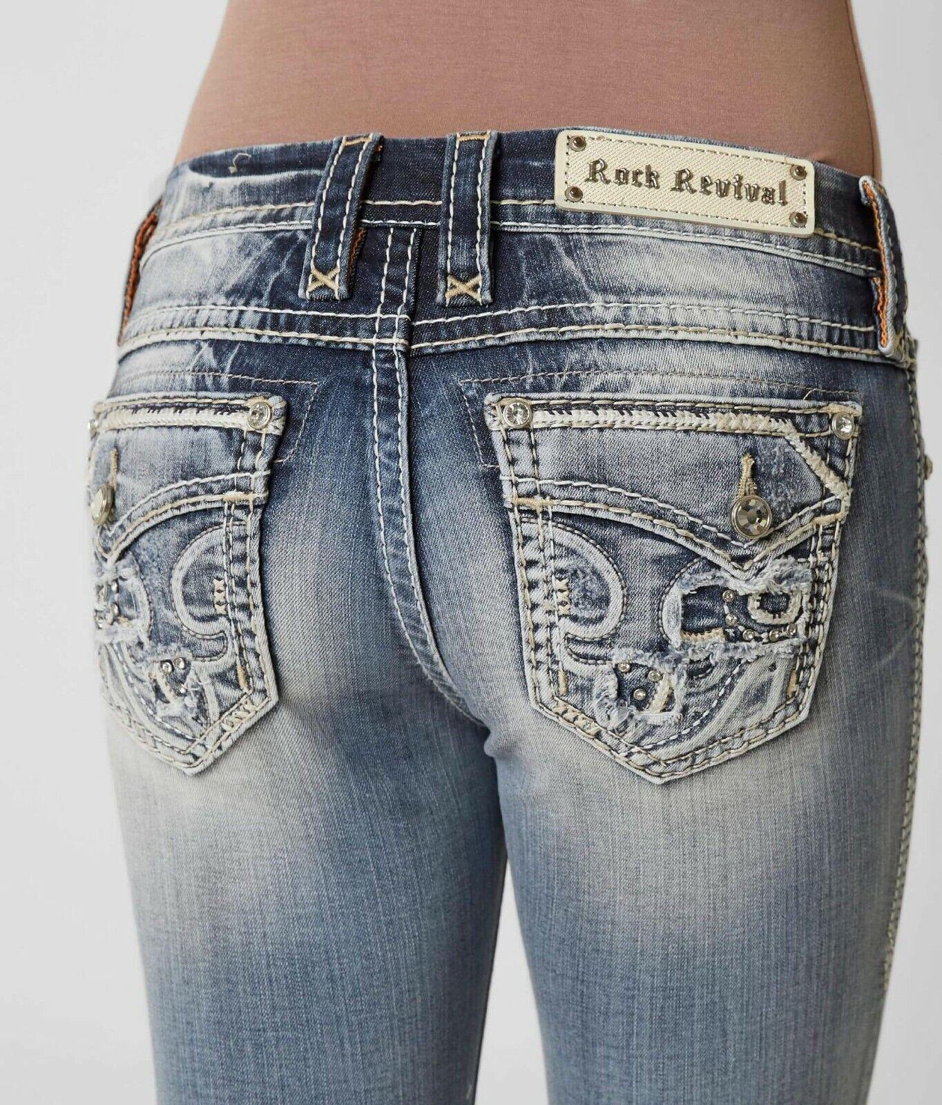 Rock Revival Pour Femme Jeans Mid Rise Stacia Synthétique rabat Skinny 24 x 32 lire douteuse