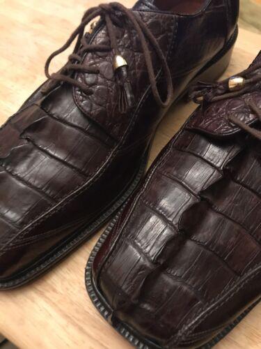 Unique Mens Brown Crocodile Patterned Dress shoes