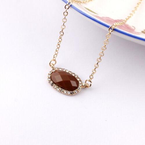 2019 Gold Color Chain Rhinestone Mini Oval Resin Stone Pendant Choker Necklace