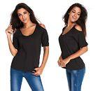 Ladies Black Scoop Neck Cold Shoulder Over-sized Top Blouse t-shirt size 8-10-12