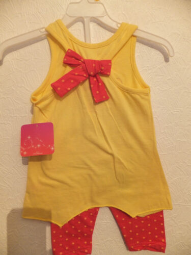 NEW DISNEY MINNIE YELLOW /& PINK 2-6YR  COTTON JERSEY DRESS /& LEGGINGS OUTFIT SET