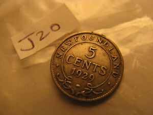 1 Coin Only Circulated 1940-C Newfoundland 5 Cent Many Available Silver!