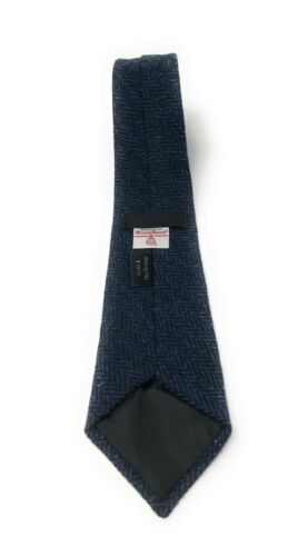 Harris Tweed Navy Blue Herringbone Tie