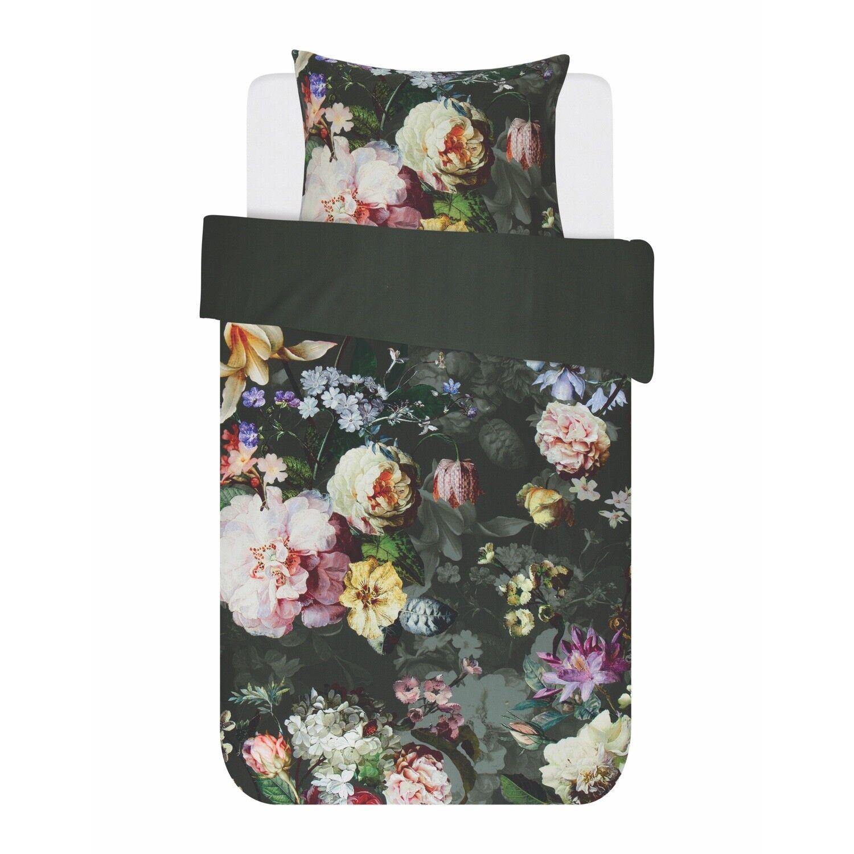 ESSENZA linge de lit Fleur Vert Fleurs Pétales Roses Plantes tournant aspect satin