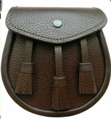 Black Celtic Leather Sporran 3 Tassels with Chain Belt