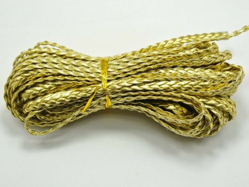 32.8 Feets Gold Flat Braided Bolo Leatherette String Jewelry Cord 5X1mm