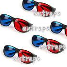 5x/Set Black Frame Red Blue 3D Glasses For Dimensional Anaglyph Movie Game DVD E