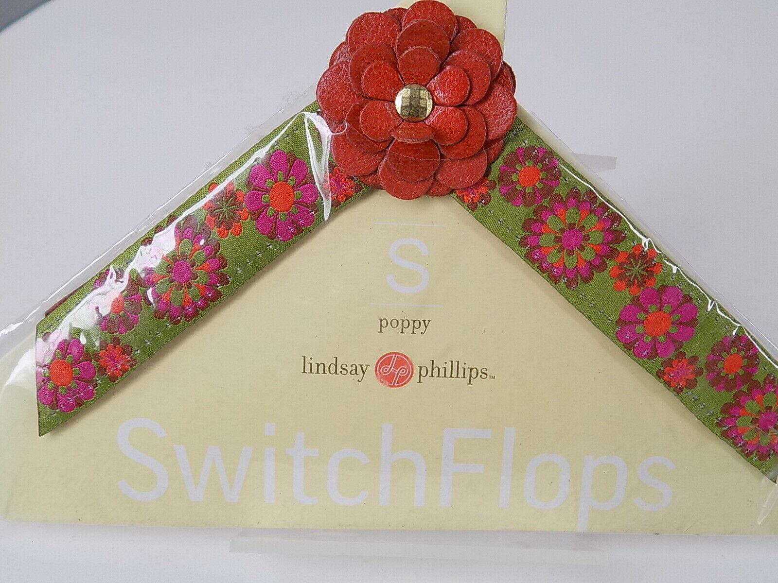 LINDSAY PHILLIPS INTERCHANGEABLE STRAPS SWITCHFLOPS Small 5/6 Poppy
