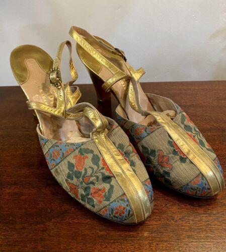 "Vintage Ferragamo ""Cedric"" Gold Heels 1950s T-Stra"
