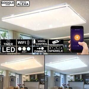 LED Tages-Licht Decken Lampe weiß DIMMER Fernbedienung CCT Textil Leuchte Chrom