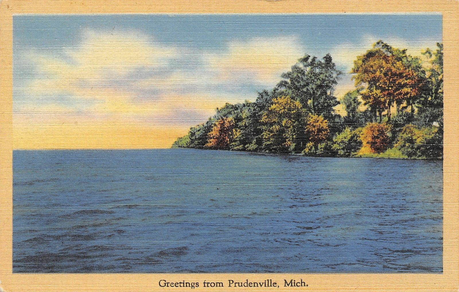 Prudenville MI Autumn Greetings From East Bay! Lovely Time Gram & Gramps 1949