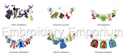 Colección Holiday tendederos-diseños de bordado de la máquina en CD o USB