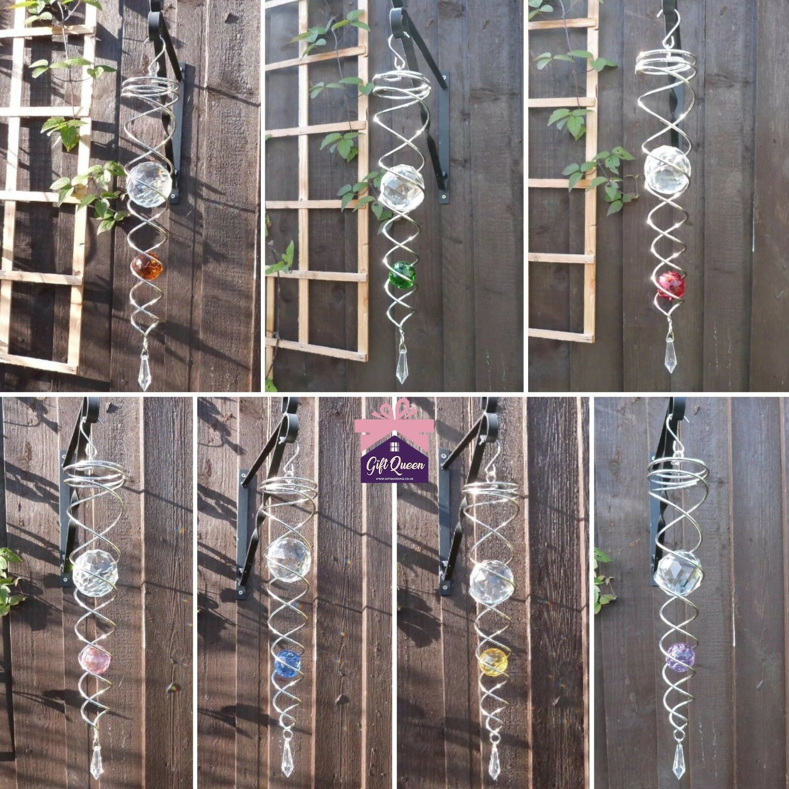 SILVER CRYSTAL TAIL TWISTER Accessory to Wind Spinner Stainless Home Garden NEW