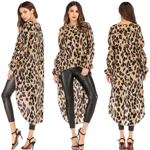 Women's Irregular Leopard Print Long Sleeve Blouse Long Tops Dress T Shirt P3 V7 by Unbranded/Generic