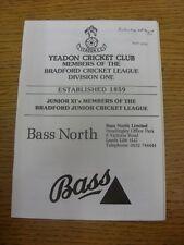 24/08/1991 programa de Cricket: Yeadon V Spen Victoria (fecha señaló en frente). Tha