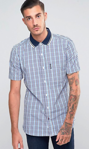 LAMBRETTA Mens Shirt in bluee Gingham with Short Sleeves size M - Brand New