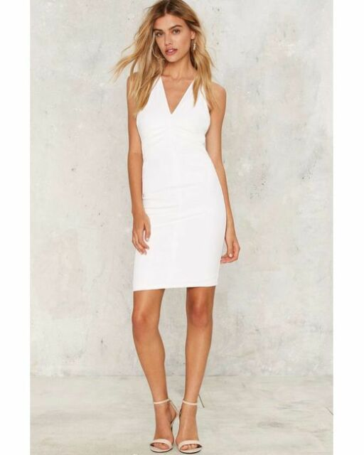 e53cb41f4afd Nasty Gal Short Of Nothing Bodycon Dress large white olivaceous new with  tags