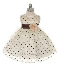 New Baby Girls White Black Polka Dot Dress Pageant Wedding Christmas Party 247