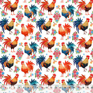 fabric yard rooster shine rise decor polyester sold