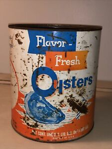 VINTAGE-1-GAL-FLAVOR-FRESH-OYSTERS-TIN-CAN-FISHERMAN-039-S-SEAFOOD-GRASONVILLE-MD