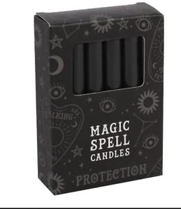 Magique-Sort-Bougie-Noir-Protection-Paquet-de-12-Bougie-pour-Rituels-Wicca