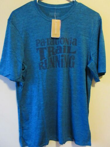 Mens New Patagonia Capilene Daily Graphic T-Shirt Trail Running Size S M L Blue