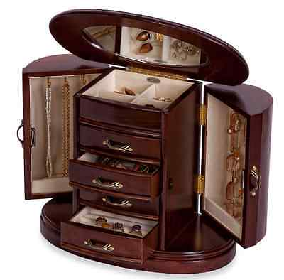 Walnut Jewelry Box Storage Display Chest Ring Earring Necklace Organizer Wood
